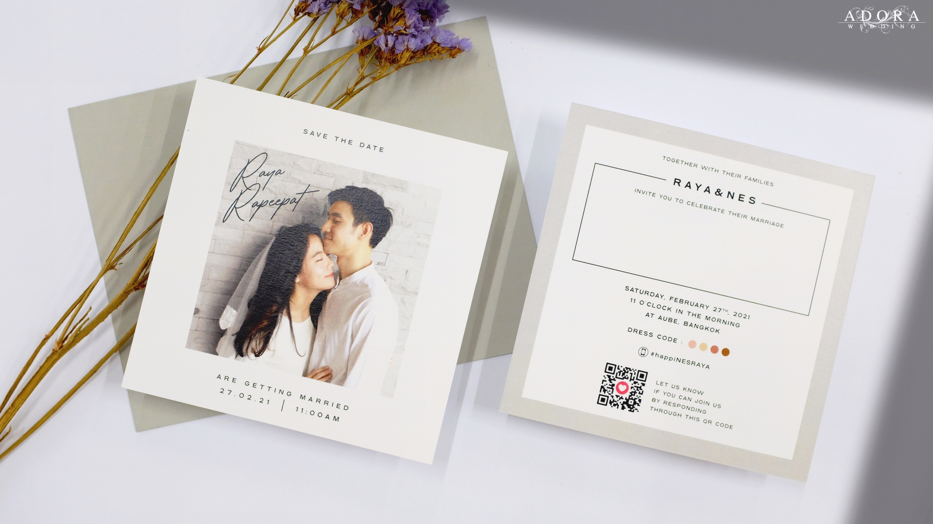 Portfolio C264 ... Square Wedding Card in Photo Style ... Cool and Different