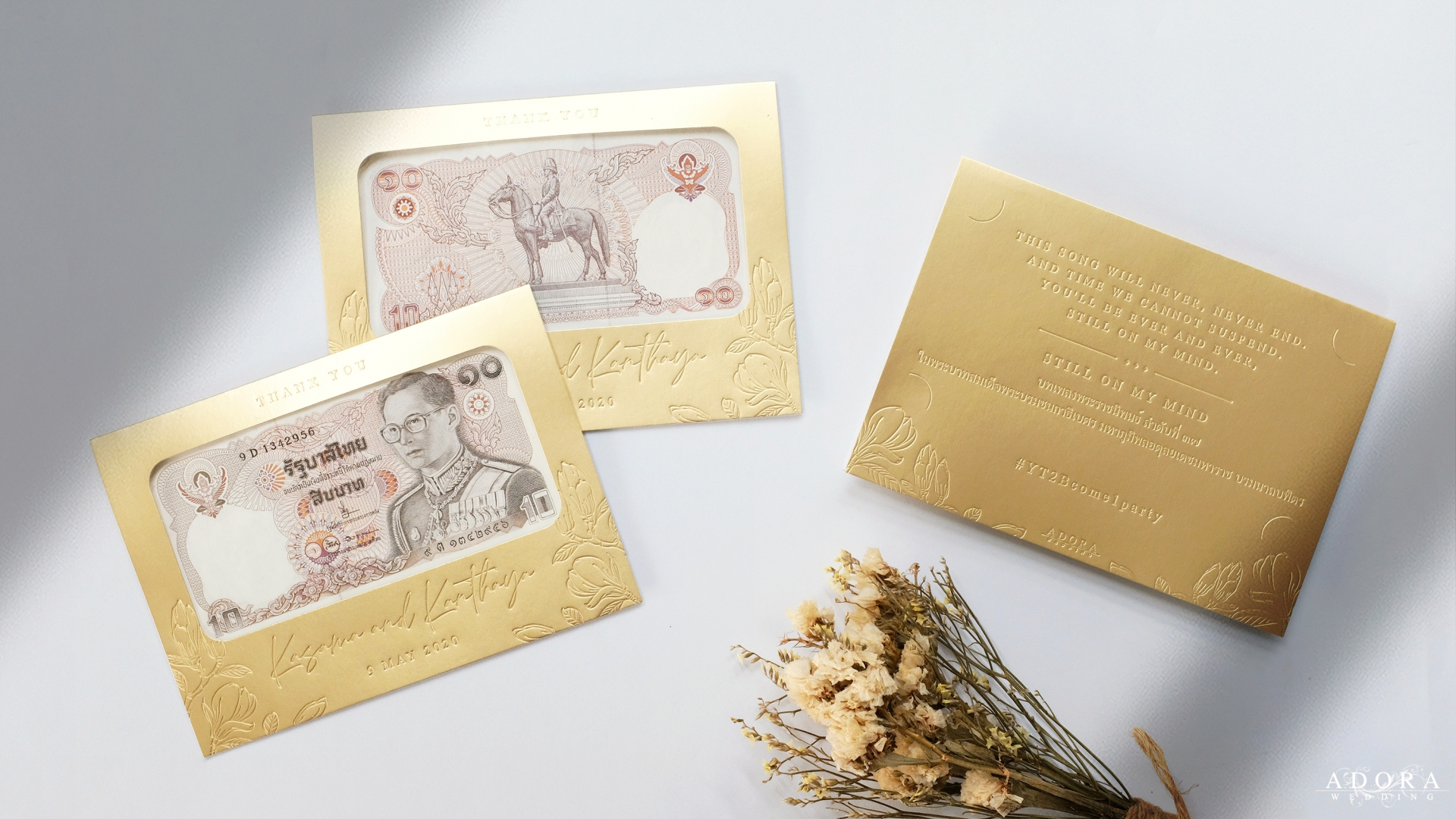Portfolio ซองใส่ธนบัตรสีทอง แบบ LetterPressed สวยหรูไม่เหมือนใคร