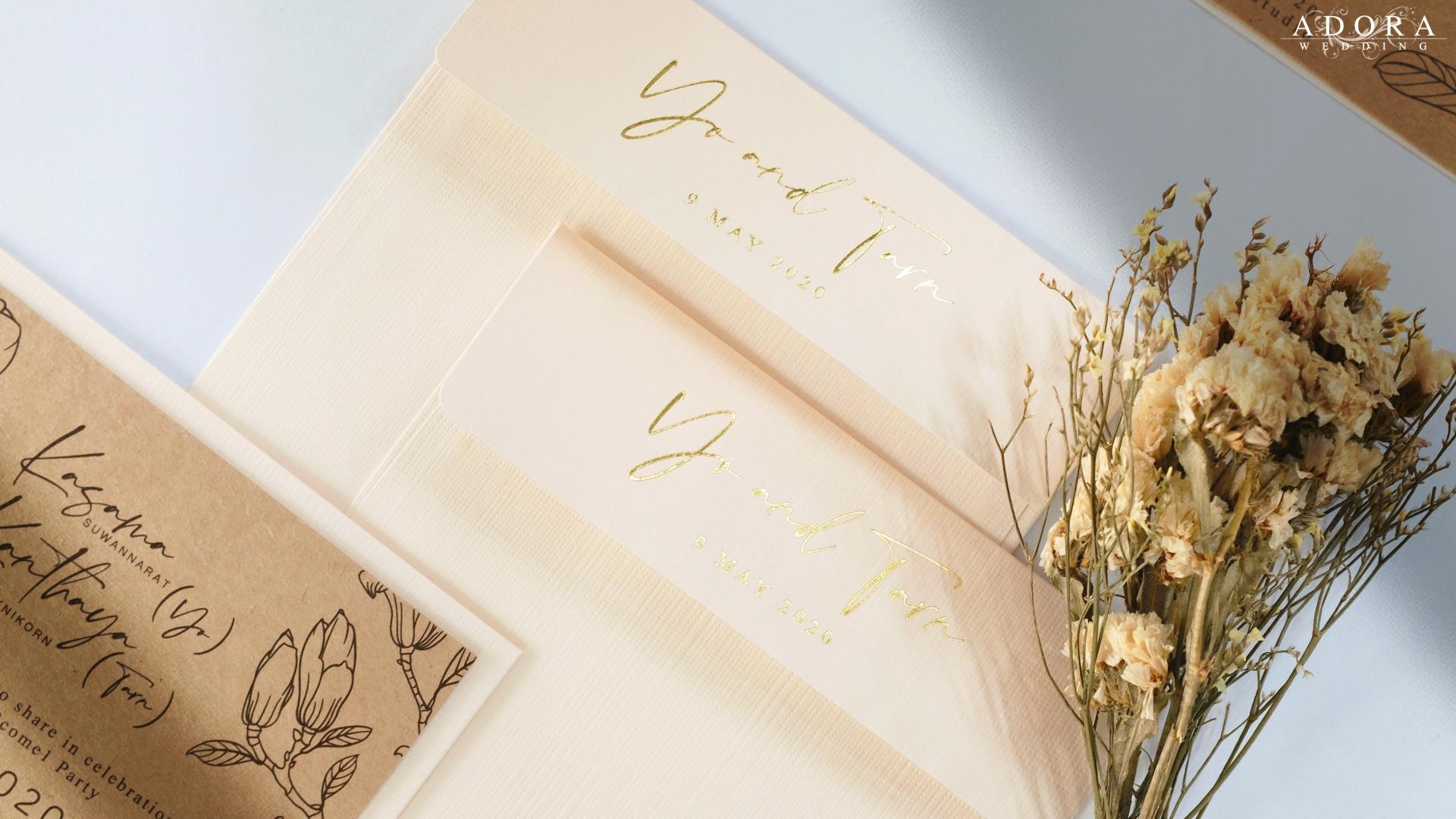 Portfolio C149CR square wedding card printed on Craft Paper with Matching Envelopes