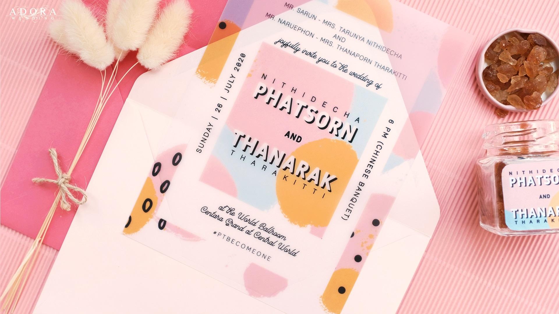Portfolio B119LM การ์ดแต่งงานแบบใสพิมพ์สี พร้อม ของชำร่วย น้ำตาลกรวด
